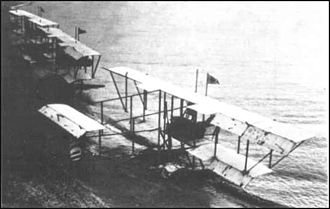 Imperial Japanese Navy Air Service - Three Japanese Maurice Farman seaplanes.