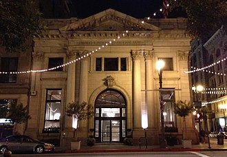 Farmers and Merchants Bank of Los Angeles - The facade of the building at night in 2014