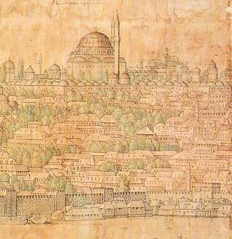 Fatih Mosque, Istanbul - Appearance of the Fatih Mosque before the earthquake, painted in 1559.