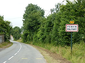 Febvin-Palfart (Pas-de-Calais) city limit sign.JPG