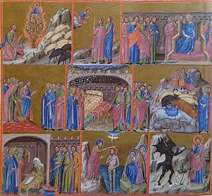 Great Canterbury Psalter - Detail of folio 144v, from the Catalan portion, illustrating Psalm 80