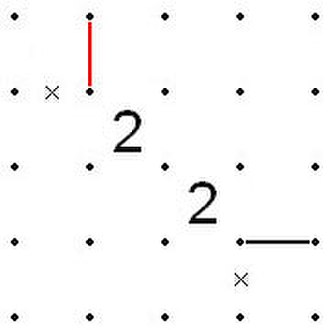 Slitherlink - Image: Figure 2, 'Diagonals starting with 2' rule, on the Slitherlink page
