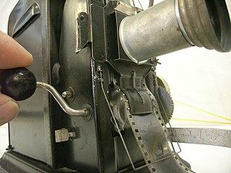 Geneva drive - Movie Projector with hand crank and geneva drive