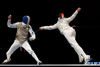 Parry (fencing) - Jérémy Cadot (on the left) parries the flèche attack from Andrea Baldini during the final of the Challenge international de Paris.