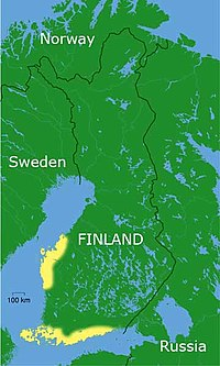 Areas where Finland Swedish populations are found shown in yellow