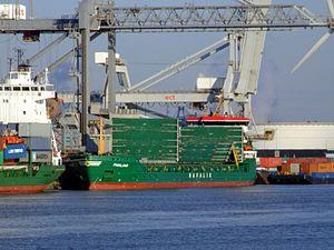 Finnland IMO 9301598 - Callsign MLGJ9 loading and unloading in the Amazone harbour Port of Rotterdam 25-Jan-2007.jpg