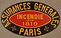 Fire mark for Compagnie d'Assurances Generales Contre l'Incendie et les Explosions in Paris, France.jpg