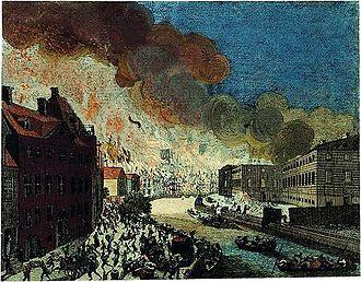 Gammel Strand - Gammel Strand on fire