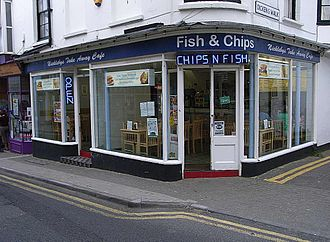 Fast food restaurant - A fish and chip shop in England