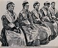 Five women are sitting in a row with books on their laps. Li Wellcome V0041245.jpg