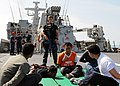 Flickr - Official U.S. Navy Imagery - A boarding officer speaks to role players during a visit, board, search and seizure training evolution with the Indonesian navy aboard the Corvette Class KRI Sultan Iskandar Muda..jpg