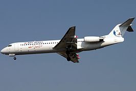 Fokker 100 Naft Airlines EP-OPI THR January 2011.jpg