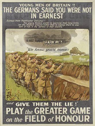 Football Battalion - Recruitment poster featuring the Football Battalion