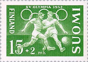 Football at the 1952 Summer Olympics - Image: Football at the 1952 Summer Olympics Finnish stamp