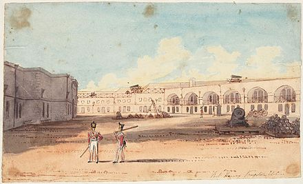 Fort Henry at Kingston in 1836. Built from 1832 to 1836, the fort was one of several works undertaken to improve the colonies' defences. Fort Henry, Kingston.jpg