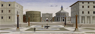 History of urban planning - The Ideal City (probably by Fra Carnevale, c. 1480–1484) exemplifies Renaissance ideals of urban planning. The Roman archway and colosseum suggest the value of military victory and mass entertainment.