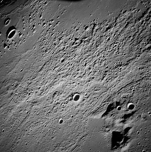 Fra Mauro formation - Oblique view of Fra Mauro taken from lunar orbit on the Apollo 12 mission.