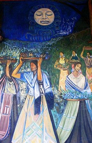 Alfredo Zalce - Detail of the mural Gente y paisaje de Michoacán at the Palacio de Gobierno in Michoacán (1962)