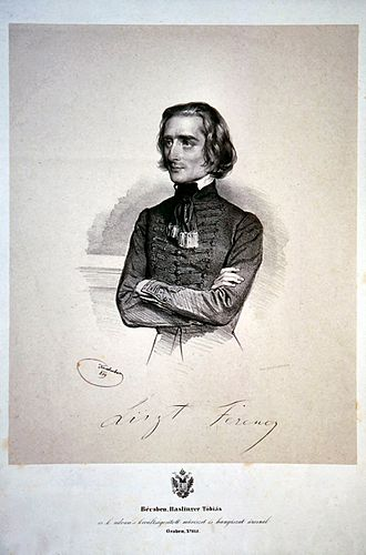 Frédéric Chopin - Franz Liszt in 1838, engraving by Josef Kriehuber