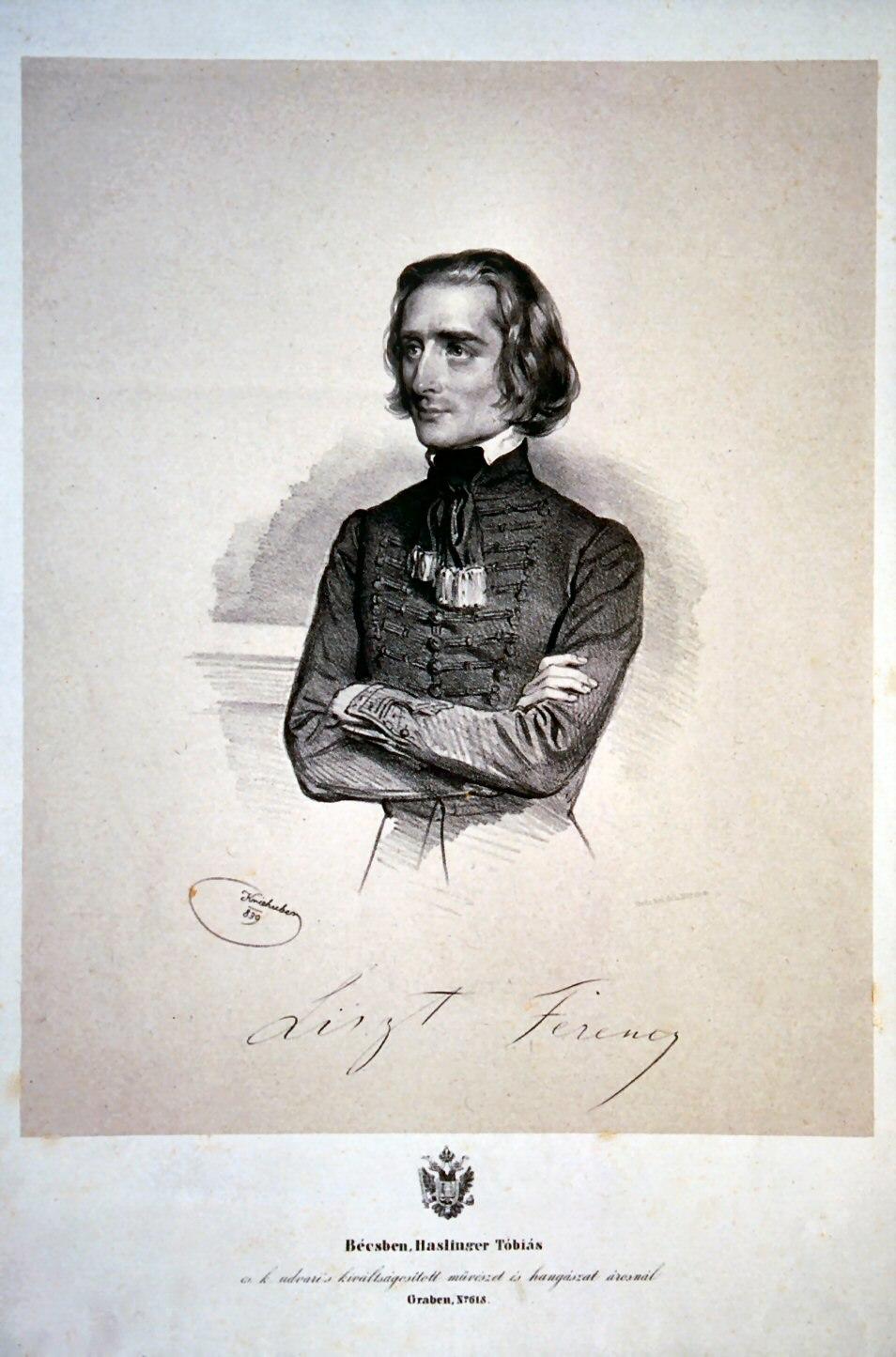 Franz Liszt 1839 Litho