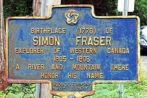 Simon Fraser (explorer) - Image: Fraser Marker