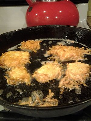 Frying - Latkes being fried