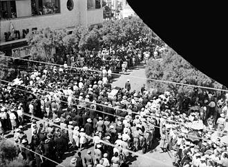 Meir Dizengoff - Meir Dizengoff's funeral, 24 September 1936, Tel Aviv. Photo by Matson Photo Service.