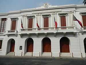 Ayuntamiento de Manila - The façade of the reconstructed Ayuntamiento facing Plaza de Roma