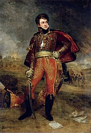 Painting shows a hatless man in a hussar uniform holding a sword in his right hand. His left hand rests on his hip.