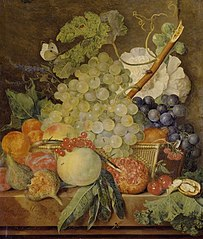 Fruit on a marble table and a basket with flowers and a butterfly