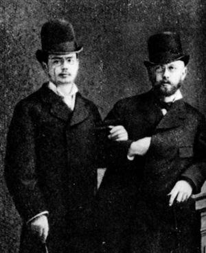 Tchaikovsky (right) with violinist Iosif Kotek