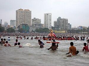 Girgaum Chowpatty - Girgaon Chaupati during Ganesh Visarjan