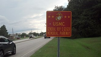 "Roy Geiger - ""General Roy S. Geiger Memorial Parkway"" sign on County Road 220 in Clay County, Florida, just south of Jacksonville"