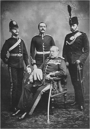 John Laurie (soldier) - Laurie (sitting) and three of his sons (1901) (Painting of this photo is hung at Citadel Hill (Fort George), Halifax, Nova Scotia)
