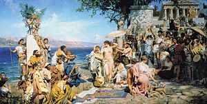 Phryne - Phryne at the Poseidonia in Eleusis by Henryk Siemiradzki, c. 1889. Phryne is shown naked, preparing to step into the sea.