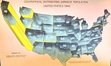 A per-state population map of the Japanese American population, with California leading by a far margin with 93,717.