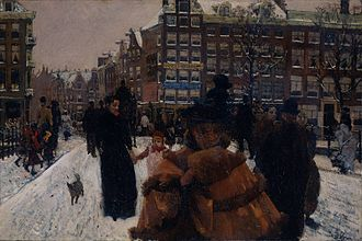 Singel - The Singel Bridge at the Paleisstraat in Amsterdam, painting by Breitner, c. 1897.