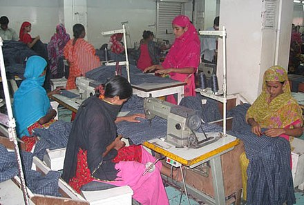 Women make up most of the workforce of Bangladesh's export oriented garment industry that makes the highest contribution to the country's economic growth. Germents worker Bangladesh.jpg