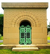 The Carrie Eliza Getty Tomb is an architectural treasure of Graceland Cemetery.