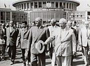 Gheorghiu-Dej & Khrushchev at Bucharest's Baneasa Airport (June 1960)