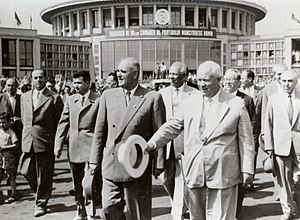 Gheorghe Gheorghiu-Dej - Gheorghe Gheorghiu-Dej with Nikita Khrushchev at Bucharest's Băneasa Airport in June 1960. Nicolae Ceauşescu can be seen at Gheorghiu-Dej's right hand side.