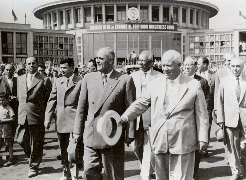 File:Gheorghiu-Dej & Khrushchev at Bucharest's Baneasa Airport (June 1960).jpg