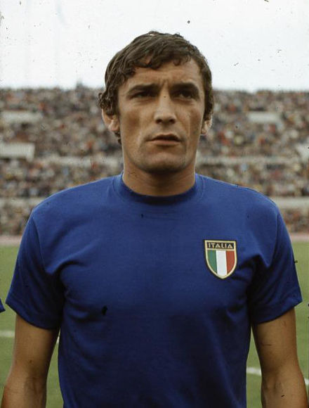 Luigi Riva is the top scorer in the history of Italy with 35 goals. Gigi Riva, Italia, 1968 (cropped).JPG
