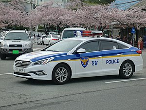Law enforcement in South Korea - Hyundai Sonata police car in South Korea.