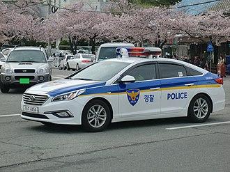 Law enforcement in South Korea - Hyundai Sonata police car in South Korea.