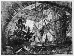 Le Carceri d'Invenzione, plate X: Prisoners on a Projecting Platform
