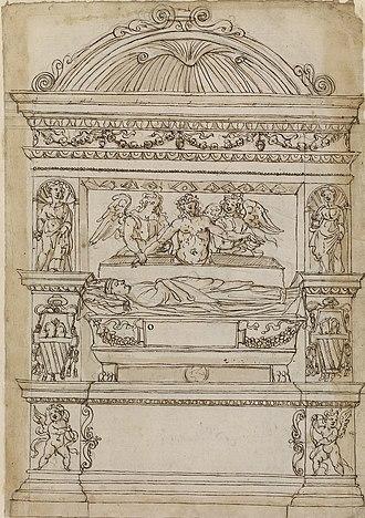 Mellini Chapel (Santa Maria del Popolo) - Drawing in the Royal Library which shows the original form of Giovanni Mellini's tomb