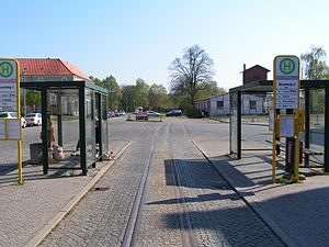 Rathenow railway station - Station forecourt with bus station and remains of the narrow gauge railway