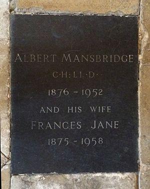 Albert Mansbridge - Gloucester Cathedral, grave of Albert Mansbridge