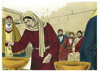 Jesus commends this poor but generous woman. Gospel of Luke Chapter 21-4 (Bible Illustrations by Sweet Media).jpg
